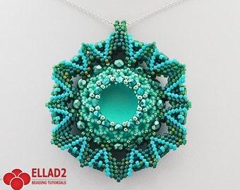 Tutorial Zahara Pendant - Beading Pattern,Jewelry Tutorial,Instant download, Ellad2
