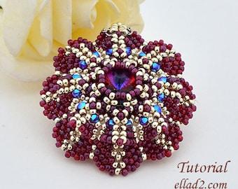 Tutorial Pendant Purpurea Flower - beading pattern, PDF, Instant download, Jewelry Tutorials