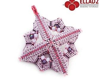 Tutorial Criss Cross Pendant - Beading Tutorial, Beading Pattern, Peyote stitch, design by Ellad2