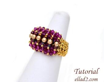 Tutorial Ring Malina - Beading Pattern, Instant download, PDF, Jewelry Tutorials by Ellad2