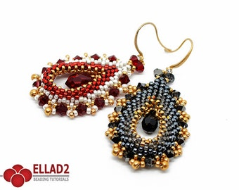 Tutorial Ovallete Earrings - Beading tutorial, Beading Pattern, Instant download, Ellad2