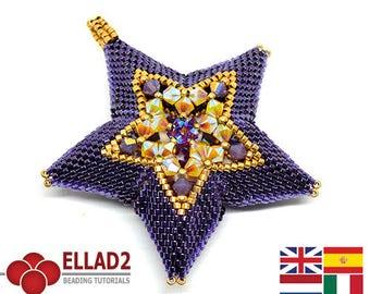 Tutorial Sparkle Star - Beadwoven Star, beading tutorial, beading pattern, sparkle star, peyote stitched, Ellad2