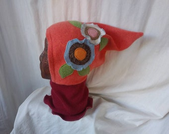 4-10 Years Cashmere Floral Orange Gnome / Pixie Hat