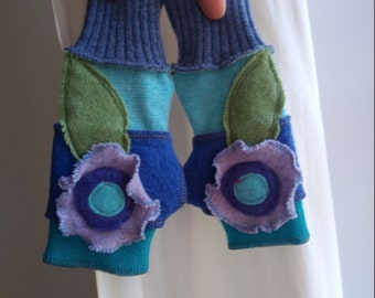 3-7 Years Recycled Cashmere Kids Arm Warmers Fingerless Gloves