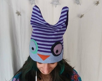 Teen-Adult Upcycled Cotton Wool Owl Hat
