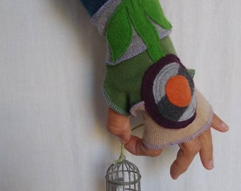 16+ Years Recycled Cashmere Arm Warmers Fingerless Gloves