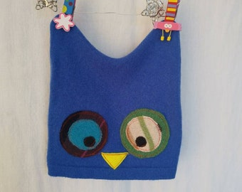 6-12 Months Recycled Felted Cashmere Owl Kids Hat