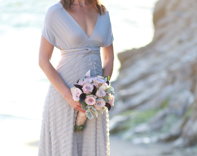 Ruffle Octopus Infinity Wrap Gown- Nantucket Grey with Ahoy Grey ~Custom combine Fabrics- Vintage Wedding, Boho Bridesmaids Dress
