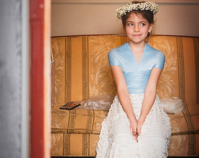 Childs/Girls Long Ruffle Convertible Wrap Octopus Infinity Twirl Dress-Choose any fabric-Flower girl~Party Dress