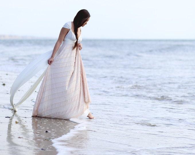 Featured listing image: Bohemian Bride- IVORY Dainty Ruffle Lace Long Infinity Wrap Dress- Beach Bride, Maternity, Plus Size,  Etc.