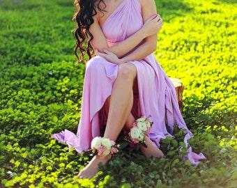 Last of Fabric- Violet Quartz TULIP Hem Long Octopus Convertible Wrap Gown- Lavender Lilac Maxi Dress~ Prom, Bridal, Maternity Bridesmaids