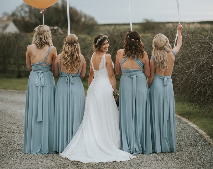 Coralie Beatrix Pelican Hill Dusty Blue Long Octopus Infinity Convertible Wrap Gown Dress~ Bridesmaids, weddings. etc.