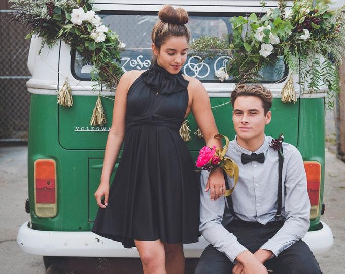 Coralie Beatrix Short Infinity Wrap Dress- Custom Choose from over 50 colors~ Little Black Dress- Bridesmaids, Weddings, Prom, Cocktail