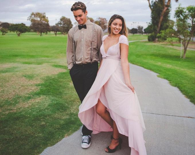 Coralie Beatrix Tulip Petal Cut infinity Wrap Dress~ Custom Choose Fabrics- Shown in Sahara Rose Gold with Peach Tulle. Prom, Bridesmaids