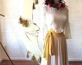 Chiffon or Mesh Full Circle High Waist Sash Skirt~ Custom Choose Fabrics for Bridal Skirt Seperates, Bridesmaids, Prom, Coralie Beatrix
