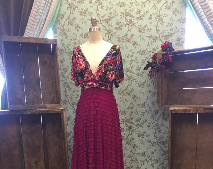 Farmer's Market Florals- Hydrangea with Magenta Ruffle~Octopus Infinity Wrap Gown- Vintage Wedding, MOH, Bridesmaids, Maternity, etc.