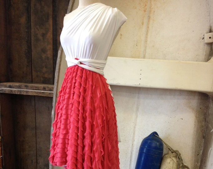 Carnival Coral Ruffle-Octopus Convertible Wrap-Short Full Circle Skirt-Bridesmaids Dress