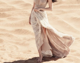 Lace Trestles Sand TULIP CUT Octopus Wrap Dress~ No Train ~Wedding Gown, Bridesmaids, Maternity, Etc.