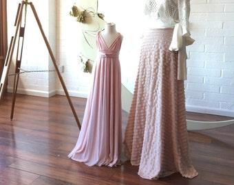 Coralie French Love Letters Ruffle Aline Sash Skirt~ Choose from 11 Colors. Bespoke Sand Dollar Blush Bow Bridal Skirt.