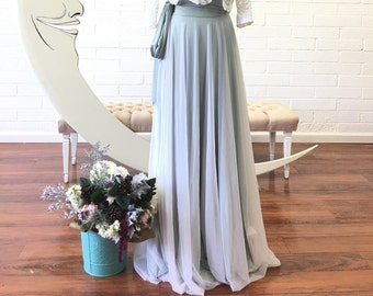Chiffon or Mesh Full Circle High Waist Sash Skirt~ Custom Choose Fabrics for Bridal Skirt Seperates, Bridesmaids, Prom, Coralie Beatrix