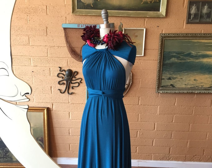 "Ready Made Petite, 46"" long Bixby Peacock Octopus Infinity Wrap Dress~ Bridesmaids, Weddings, Maternity, Plus Size"