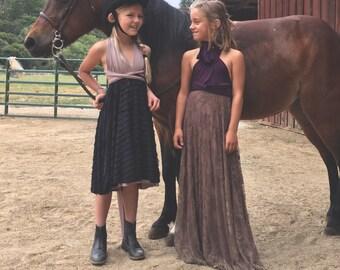 Lace Two-Tone Earthy Girl's Infinity Twirl Wrap Dress- Custom Choose Fabrics!
