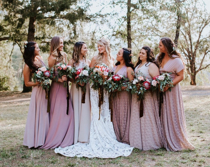 Featured listing image: Coralie Beatrix Mismatched Bridesmaids Long Dress- Choose your Fabric from over 55 colors- Octopus Infinity Wrap Dress- All sizes, Plus