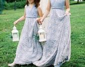 Lace Long Infinity Convertible Wrap Twirl Dress~ Custom Choose any fabrics~ Flower girl, Birthday Dress