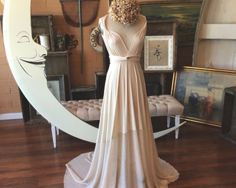 "Ready Made Standard Sz., extra long-  52""w/ Train- Ivory Sequin Sparkle~ Octopus Infinity Wrap Dress WITH Train ~Bohemian Vintage Bridal"