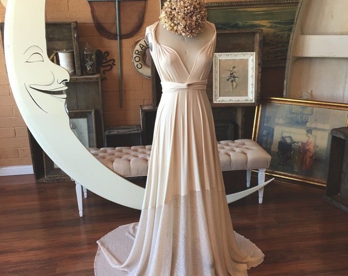 """Ready Made Standard Sz., extra long-  52""""w/ Train- Ivory Sequin Sparkle~ Octopus Infinity Wrap Dress WITH Train ~Bohemian Vintage Bridal"""