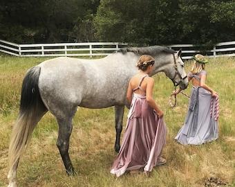 Girl's Velvet Long Convertible Wrap Dress- Choose your Fabric Color- Bridesmaid-Party-Flower Girl