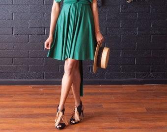 Daydreamer Hunter- Short Circle Skirt Infinity Convertible Wrap Dress- Prom, Bridesmaids, plus size, maternity, peridot