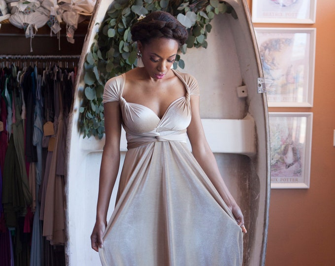 "Ready Made- Standard Size 49"" Long Ivory Velvet Bridal Coralie Beatrix Long Octopus Infinity Wrap Gown Dress~ Elopement, Boho Bride, Holiday"