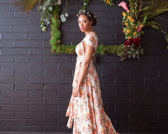 Tulip Cut w/ Print Fabric~Custom Choose your fabric,  Long Octopus Infinity Convertible Wrap Dress, ~ Secret Garden Floral