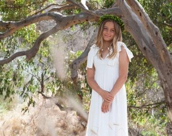 Girl's Bow Shoulder Double Layer Skirt Dress~ Custom choose  Chiffon, Mesh, and Solid Fabrics- Grecian, Flower girl, Birthday, Tea