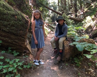 Girl's Storybook Short Velvet Infinity Twirl Wrap Dress- Custom choose from 7 colors.  Shown in Dusty Blue Velvet- Narnia, Flower Girl
