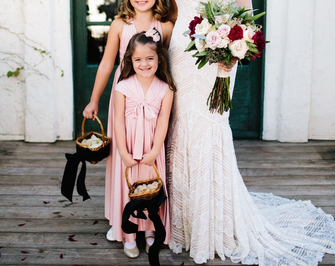 Featured listing image: Girls Long Aline Convertible Twirl Dress- Choose Any fabric in stock~ Junior Bridesmaids, Flower girl, etc. Mismatched
