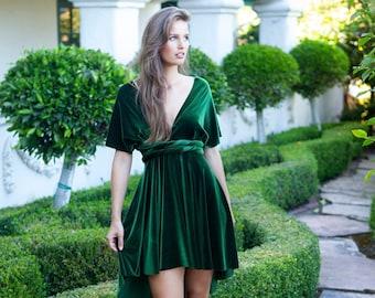 Mini Cocktail Dress- Short Circle Skirt Infinity Wrap Dress~Tropicana Palm- Custom Choose- length, size, and color!