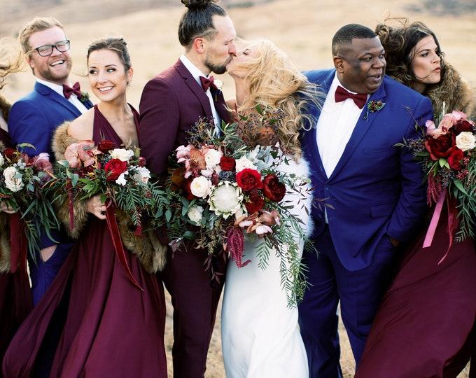 Featured listing image: Restless Sea Burgundy- Silky Satin Jersey~ Marsala Octopus Convertible Infinity Wrap Dress ~ Marsala Bridesmaids, Wedding Guest