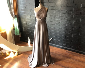 "Ready Made- Standard 50""- Oyster Taupe Octopus Infinity Wrap Maxi Dress-Bridesmaids, Wedding, Maternity, Everyday Casual"