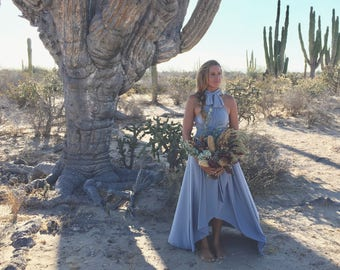 Shiplap Medium Gray~ Tulip Cut Infinity Wrap Dress. Custom Choose Your Fabric. Bohemian Bridal, Bridesmaids, Desert Wedding