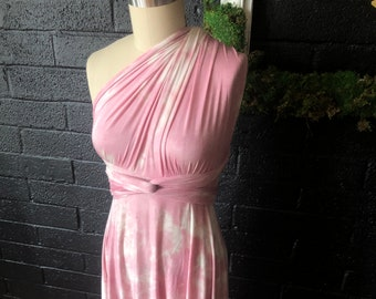 Spring Promo Fabric- Tie Dye Pink Modal Jersey-  Print Maxi Octopus Infinity Wrap Dress