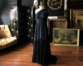Black Swan Embroidered Rose- Bella Luna Infinity Wrap Dress WITH Train ~ Custom choose your fabrics- Gothic, Bohemian Bride