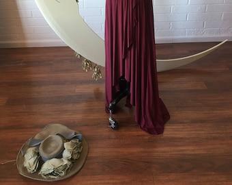 "Ready Made- Standard 48"" Length- Montecito Burgundy~ TULIP HEM CUT Infinity Wrap Gown"