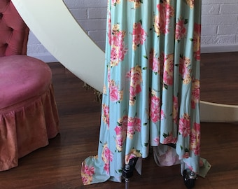 Ready-Made Long High/Low Vintage Mint Rose Garden- Floral Print Maxi High/Low Octopus Wrap Dress- Modal Jersey