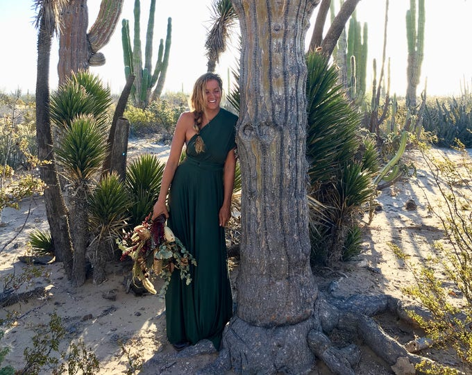 Coralie Beatrix Vineyard Greenery Dark Olive Long Octopus Convertible Wrap Gown- Converts to Strapless, Backless, Grecian