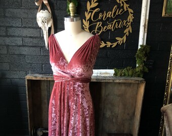 Coralie Beatrix Crushed Peony Velvet Long Octopus Infinity Convertible Wrap Gown Dress~ Bridesmaids, weddings. etc.