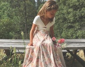 Wildflower Floral Print with Peach Chiffon Overskirt Octopus Infinity Twirl Dress~Aline Maxi- Custom Choose fabrics