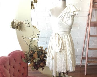 Kitschy Polkadot Print Lace Short Full Circle Infinity Dress w/ Overskirt- Custom Choose Fabrics~Polkadot, Floral, Leopard, etc.
