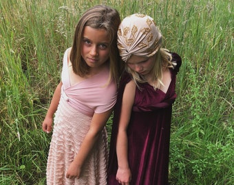 Girl's Velvet Long Infinity Wrap Dress- Burgundy Velvet, Muted Mauve or Choose your Fabric Color- Bridesmaid-Party-Flower Girl